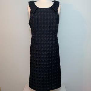 Black on black houndstooth collared dress
